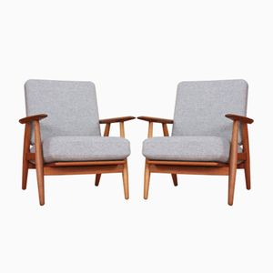 GE-240 Sessel aus Eich von Hans Wegner für Getama, 1955, 2er Set