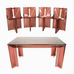 Vintage Smoked Perspex Dining Table & Chairs