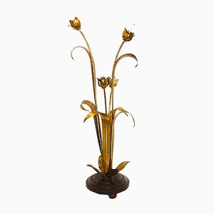 Gilded Flower Leaf Floor Lamp, 1960s