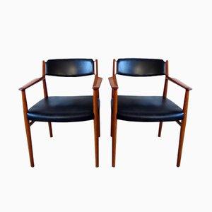 Dänische Modell 418 Teak & Leder Armlehnstühle von Arne Vodder für Sibast, 1960er, 2er Set
