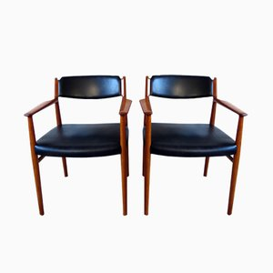Danish Model 418 Teak & Leather Armchairs by Arne Vodder for Sibast, 1960s, Set of 2