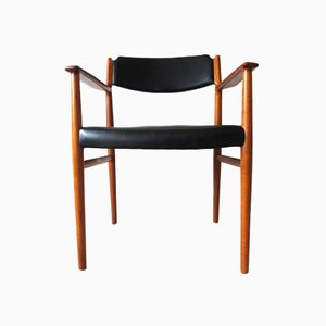 Danish Vintage Model 418 Teak & Leather Armchair by Arne Vodder for Sibast, 1960s