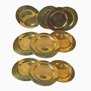 Vintage Danish Brass Plates from Stelton, 1970s, Set of 10