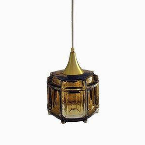 Luz colgante danesa vintage de vidrio y latón, años 70