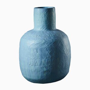 Mid-Blue Wide-Necked Bottle Keramik Vase von Daniel Reynolds, 2017