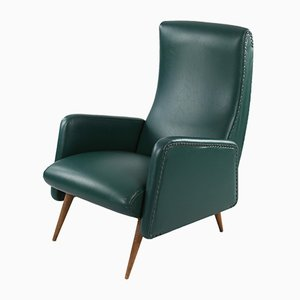 Dark Green Leatherette Armchair, 1950s