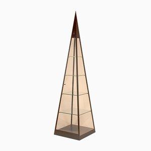 Vetrina piramidale vintage con luce, anni '80