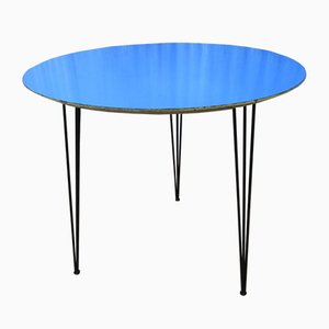 Tavolino in legno di formica blu di Imexcotra, anni '50