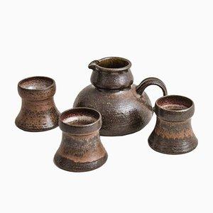 Pichet et Gobelets Vintage en Céramique et Grès par Rudi Sthal