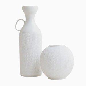 Jarrones Mid-Century de porcelana Bisque blanca de Royal Porzellan KPM Bavaria. Juego de 2