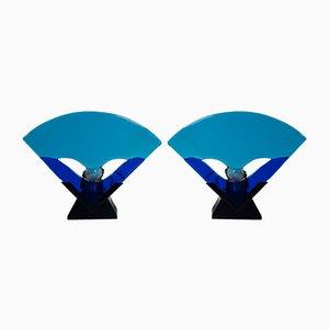 Lámparas de mesa de cristal de Murano, años 80. Juego de 2