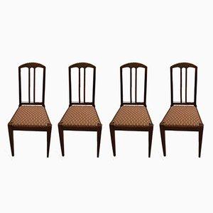 Sedie antiche in quercia di Bruno Paul per Münchner Werkstätten, set di 4