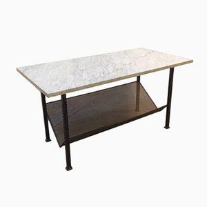 Tavolino da caffè vintage in metallo e marmo