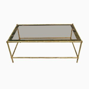 Mid-Century French Bamboo Shaped Brass and Glass Coffee Table, 1970s