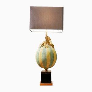 Lampada da tavolo grande Hollywood Regency in ottone e vetro con palloncino, anni '70