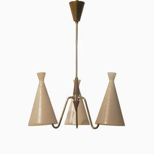 Lámpara colgante de vidrio triple y teca de Fog & Morup, años 50