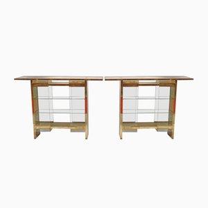 Consolas Mid-Century de latón y vidrio, años 70. Juego de 2