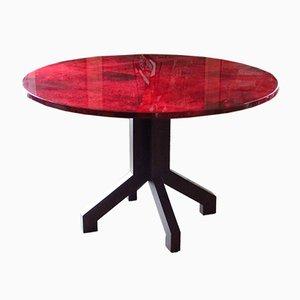 Table de Salle à Manger Plateau en Cuir de Chèvre Rouge par Aldo Tura, 1958