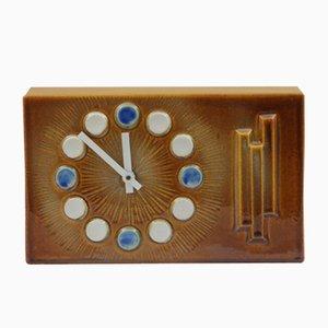 Orologio da camino in ceramica marrone, anni '70