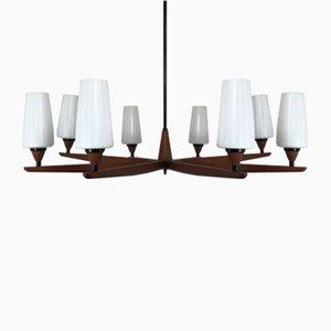 Lámpara de araña vintage de teca de Uno & East Kristiansson para Luxury