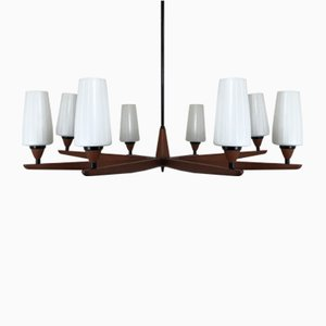 Vintage Teak Chandelier by Uno & East Kristiansson for Luxus