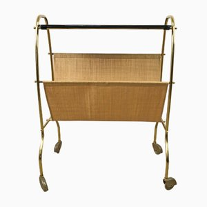 Mid-Century Brass & Glass Magazine Rack