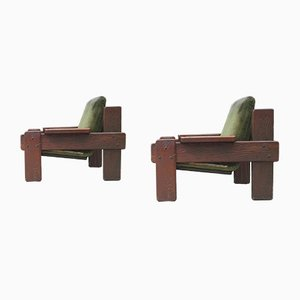 Vintage Raw Pine Easy Chairs, Set of 2