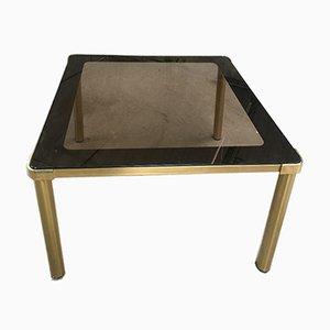 Mesa de comedor italiana de metal dorado con superficie de vidrio ahumado, años 70