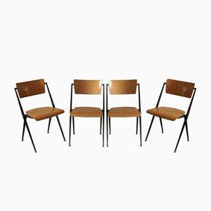 Sedia vintage con base piramidale di Wim Rietveld per Ahrend De Cirkel, set di 4