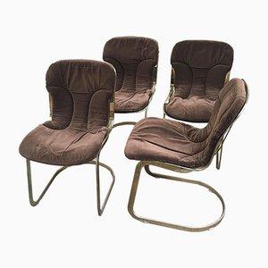 Chaises en Métal Doré, Italie, 1970s, Set de 2