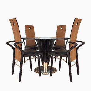Juego de mesa de comedor y 4 sillas de Pierre Cardin, años 70