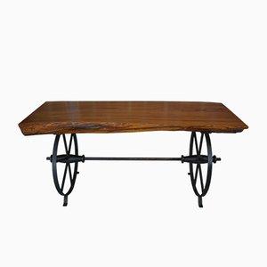 Tavolino da caffè in legno e metallo, anni '50