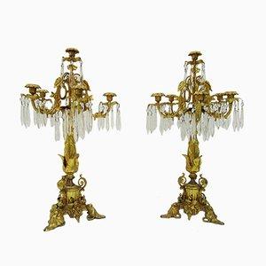 Candélabres XIXe siècle en Bronze Doré & Cristal, Set de 2