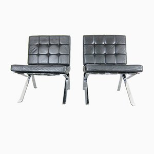 Leather Lounge Chairs by Walter Frey for Stella, 1960s, Set of 2
