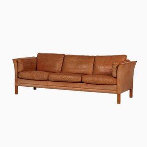 Dänisches Cognacfarbenes Mid-Century 3-Sitzer Anilinleder Sofa von Stouvon für Stouvon Furniture, 1980er