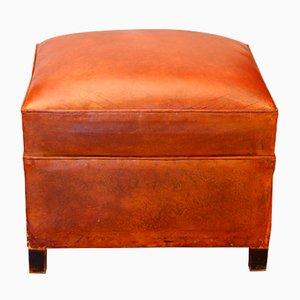Art Deco French Cognac Leather Pouf, 1930s