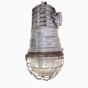 Lampada da deposito industriale in alluminio lucidato, anni '50