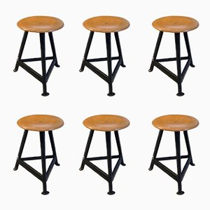 German Industrial Stools, 1950s, Set of 6