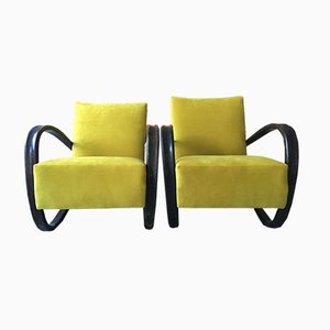 Vintage H269 Yellow Velvet & Bentwood Armchairs by Jindřich Halabala, Set of 2