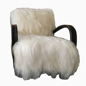 Art Deco Sheepskin H269 Bentwood Armchair by Jindrich Halabala