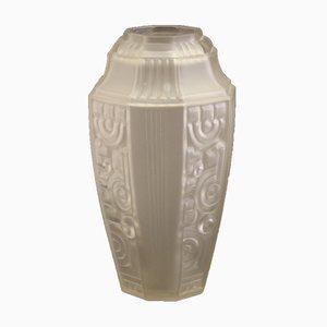Französische Geometrische Art Deco Vase von Etaleune, 1930er