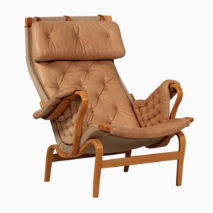 Vintage Pernilla Lounge Chair with Cognac Leather by Bruno Mathsson for Dux