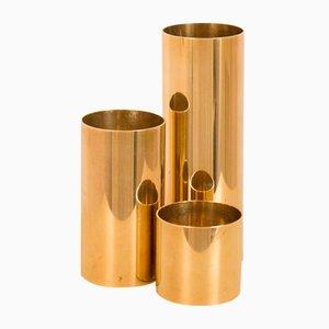 Scandinavian Brass Candlesticks, 1980s, Set of 3