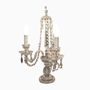 Vintage Crystal Candelabra Table Lamps, Set of 2