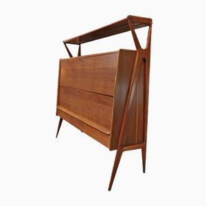 Mueble bar de roble y caoba de Louis Paolozzi para René Godfroid, años 50