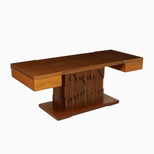 Norman Desk by Luciano Frigerio in African Walnut Veneer, 1970s