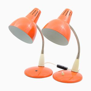 Polish Model 1118 Orange Desk Lamps from SZM Warsaw, 1970s, Set of 2