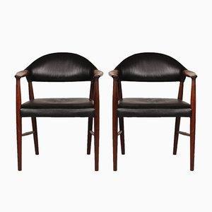 223 Rosewood & Black Leather Armchairs by Kurt Olsen for Slagelse Møbelfabrik, 1960s, Set of 2