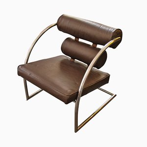 Vintage Chrom und Leder Armlehnstuhl, 1930er