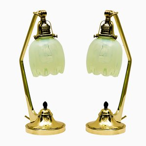 Antique Art Nouveau Table Lamps with Opaline Glass Shades, 1909, Set of 2
